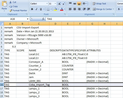 Export Tag CSV File